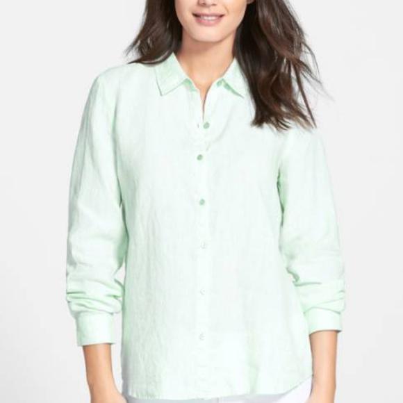 e09f7338 Eileen Fisher Tops   Organic Mint Green Linen Shirt   Poshmark
